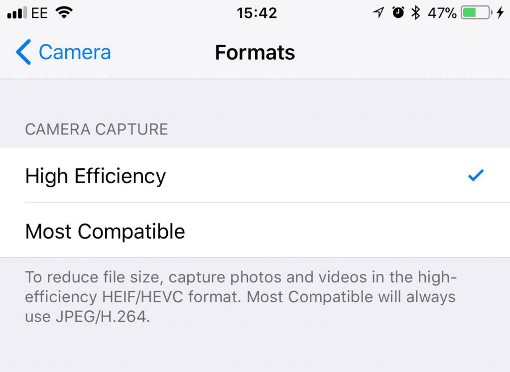 HEIC JPG IOS settings