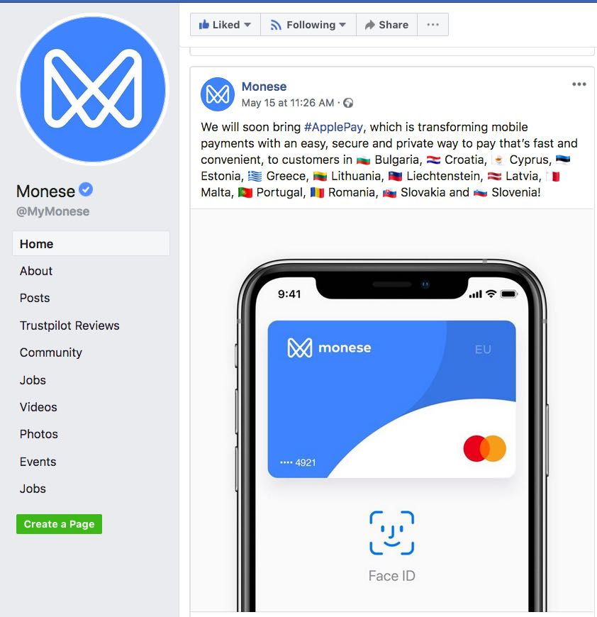Monese and official Apple Pay support in Lithuania